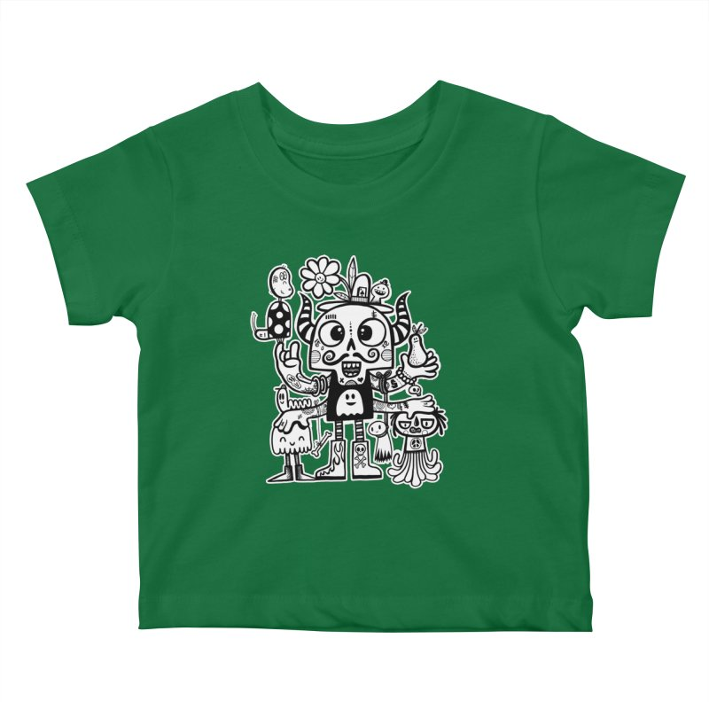 Crossed Eyed Killer Skull Face Kids Baby T-Shirt by wotto's Artist Shop