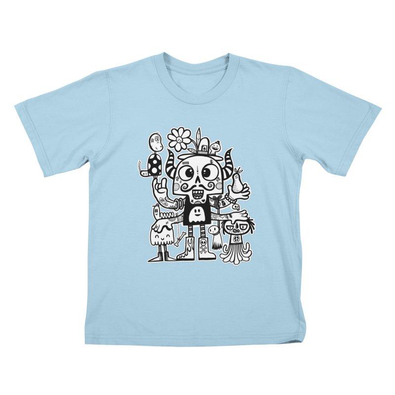Crossed Eyed Killer Skull Face Kids T-Shirt by wotto's Artist Shop