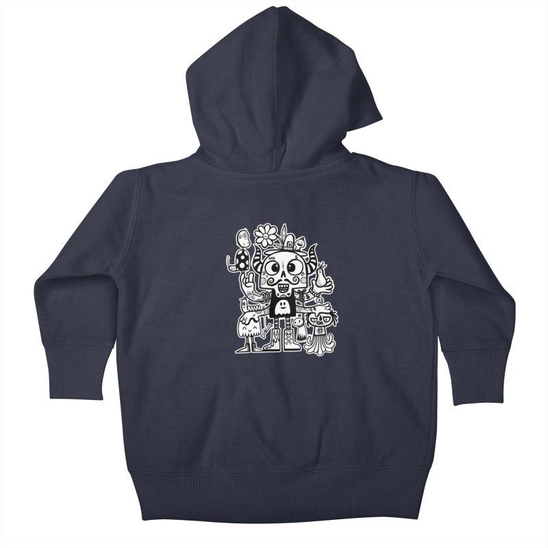 Crossed Eyed Killer Skull Face Kids Baby Zip-Up Hoody by wotto's Artist Shop