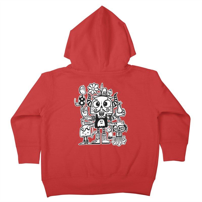 Crossed Eyed Killer Skull Face Kids Toddler Zip-Up Hoody by wotto's Artist Shop