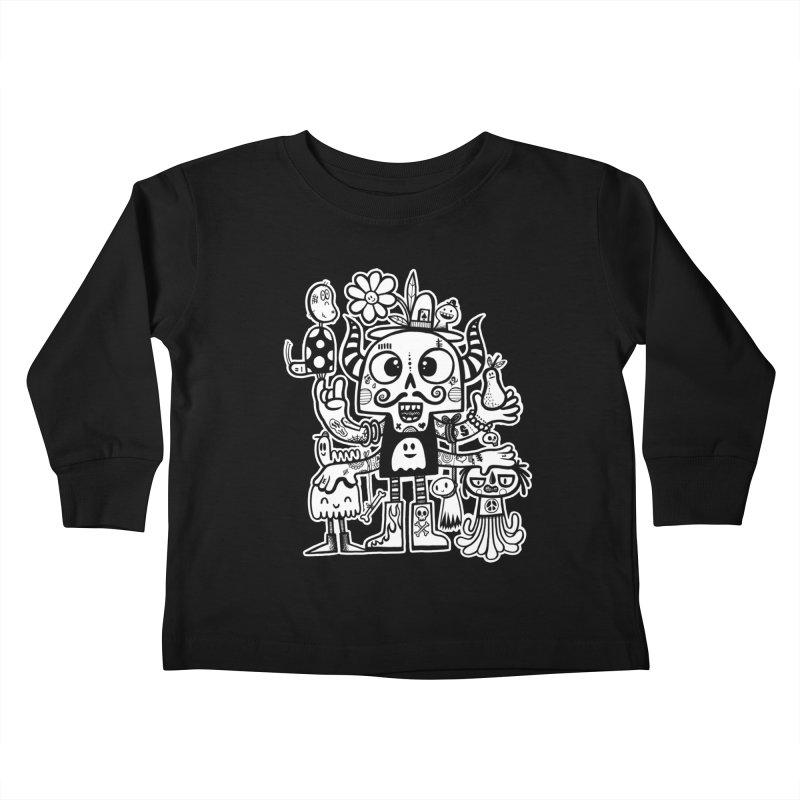 Crossed Eyed Killer Skull Face Kids Toddler Longsleeve T-Shirt by wotto's Artist Shop