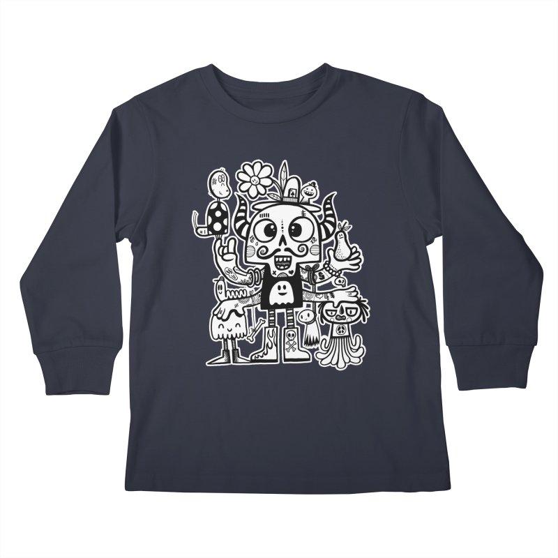 Crossed Eyed Killer Skull Face Kids Longsleeve T-Shirt by wotto's Artist Shop