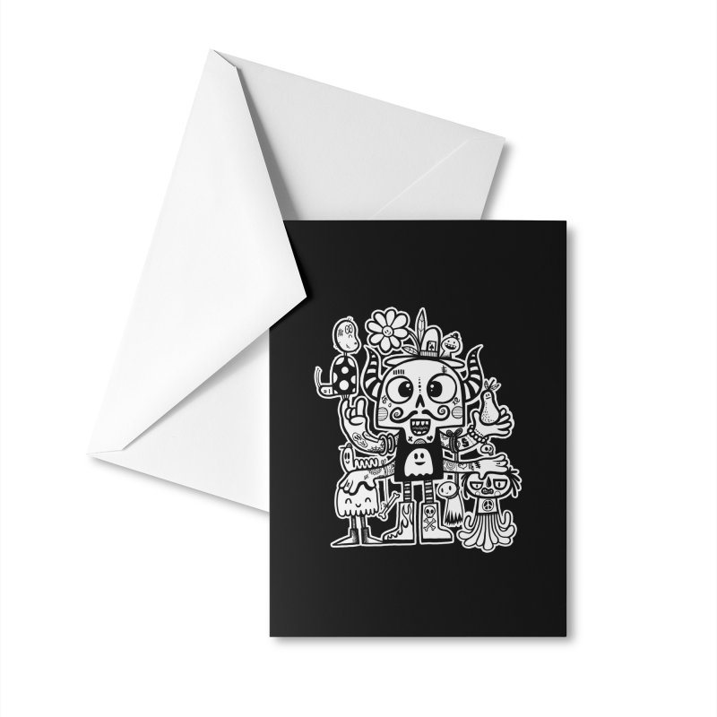 Crossed Eyed Killer Skull Face Accessories Greeting Card by wotto's Artist Shop