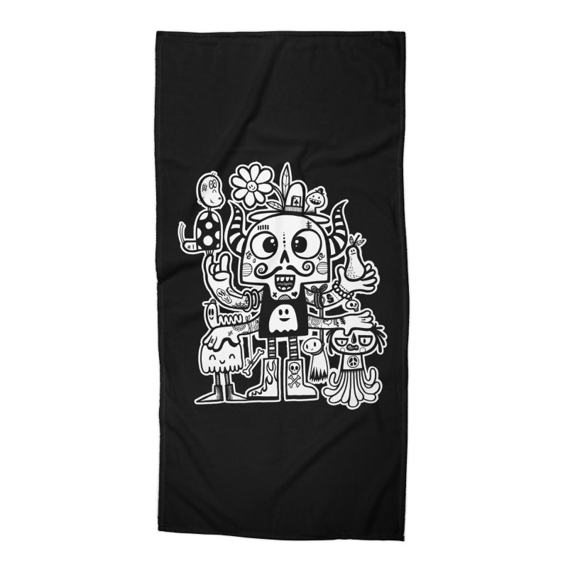 Crossed Eyed Killer Skull Face Accessories Beach Towel by wotto's Artist Shop
