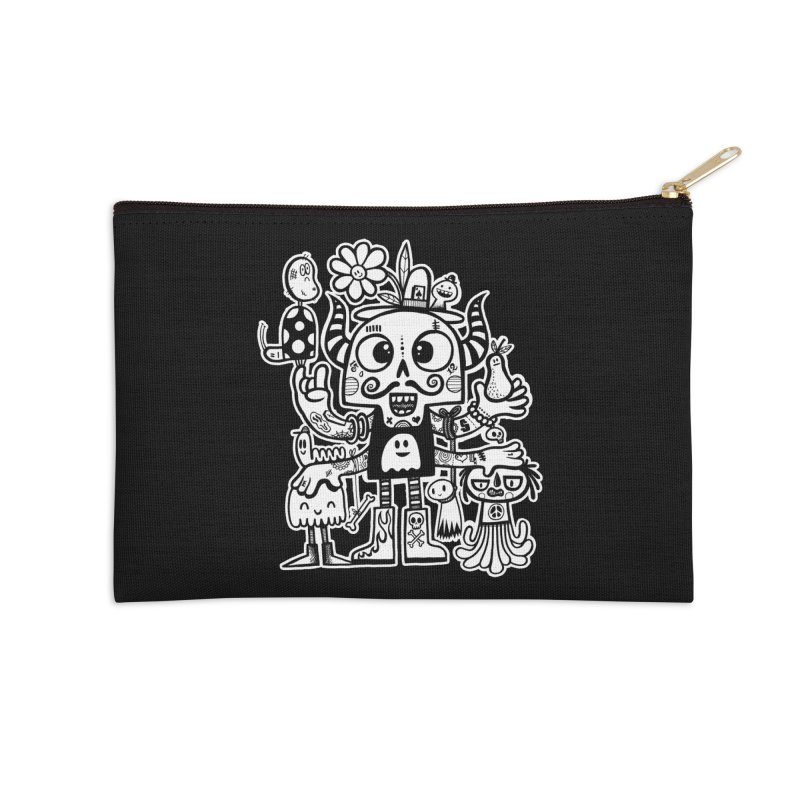 Crossed Eyed Killer Skull Face Accessories Zip Pouch by wotto's Artist Shop
