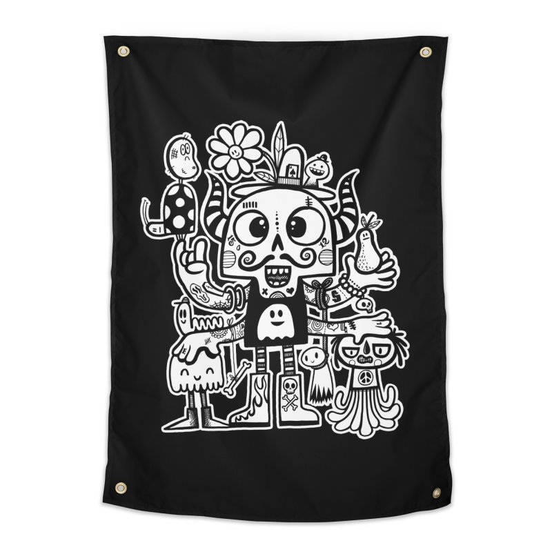 Crossed Eyed Killer Skull Face Home Tapestry by wotto's Artist Shop