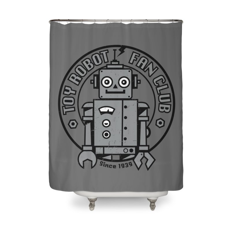 Toy Robot Fan Club Home Shower Curtain by wotto's Artist Shop