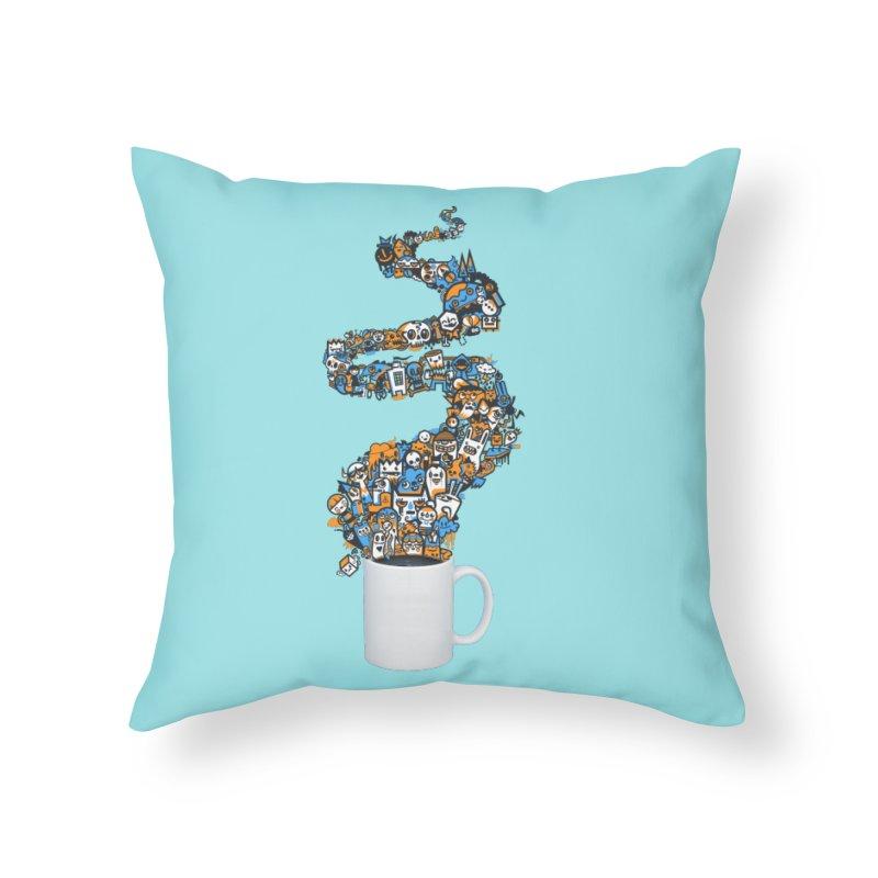 Wakey Wakey Home Throw Pillow by wotto's Artist Shop
