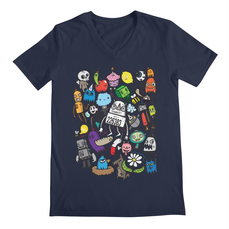 Many Colorful Friends Men's V-Neck by wotto's Artist Shop
