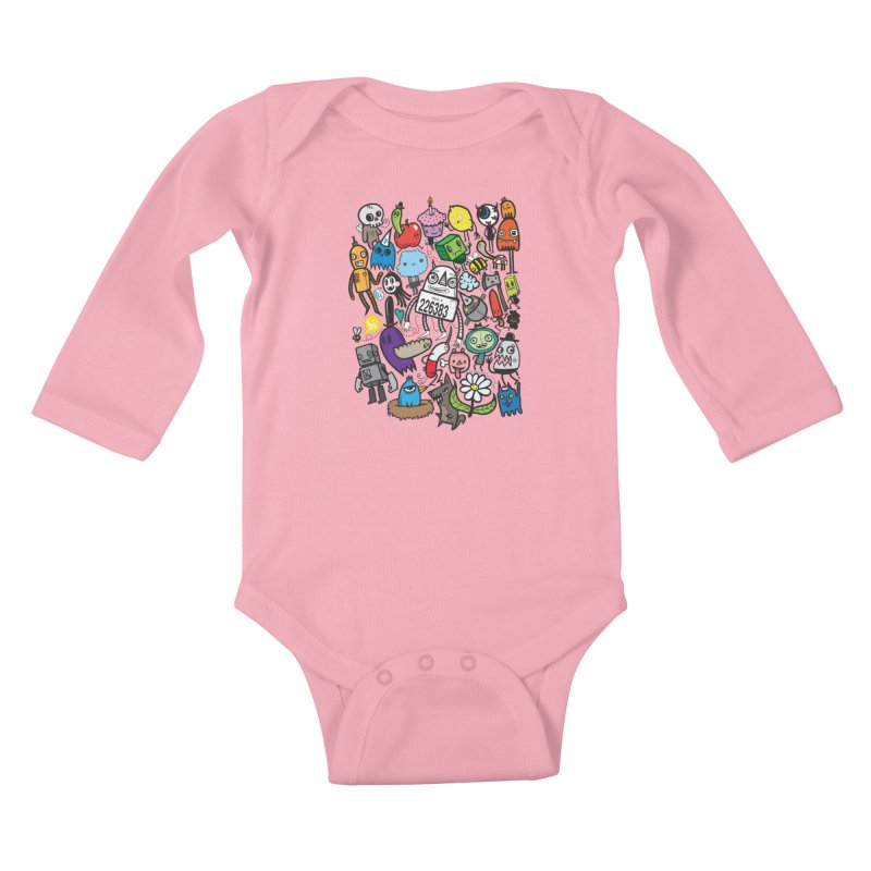 Many Colorful Friends Kids Baby Longsleeve Bodysuit by wotto's Artist Shop