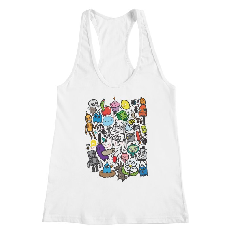 Many Colorful Friends Women's Racerback Tank by wotto's Artist Shop