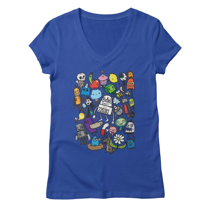 Many Colorful Friends Women's V-Neck by wotto's Artist Shop