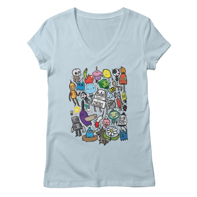 Many Colorful Friends Women's Regular V-Neck by wotto's Artist Shop