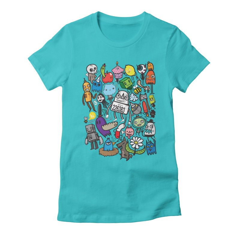 Many Colorful Friends Women's Fitted T-Shirt by wotto's Artist Shop