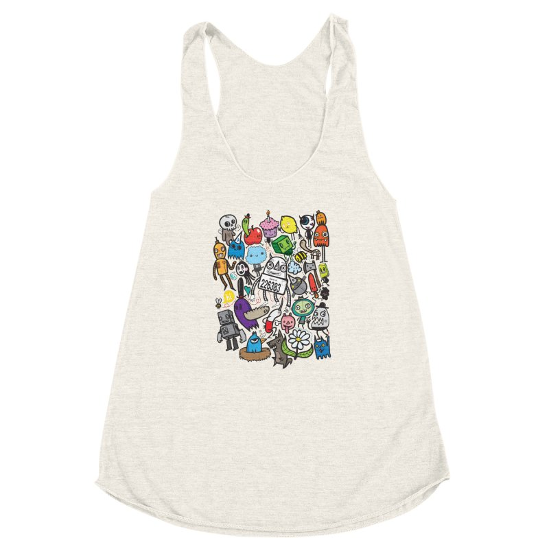 Many Colorful Friends Women's Racerback Triblend Tank by wotto's Artist Shop