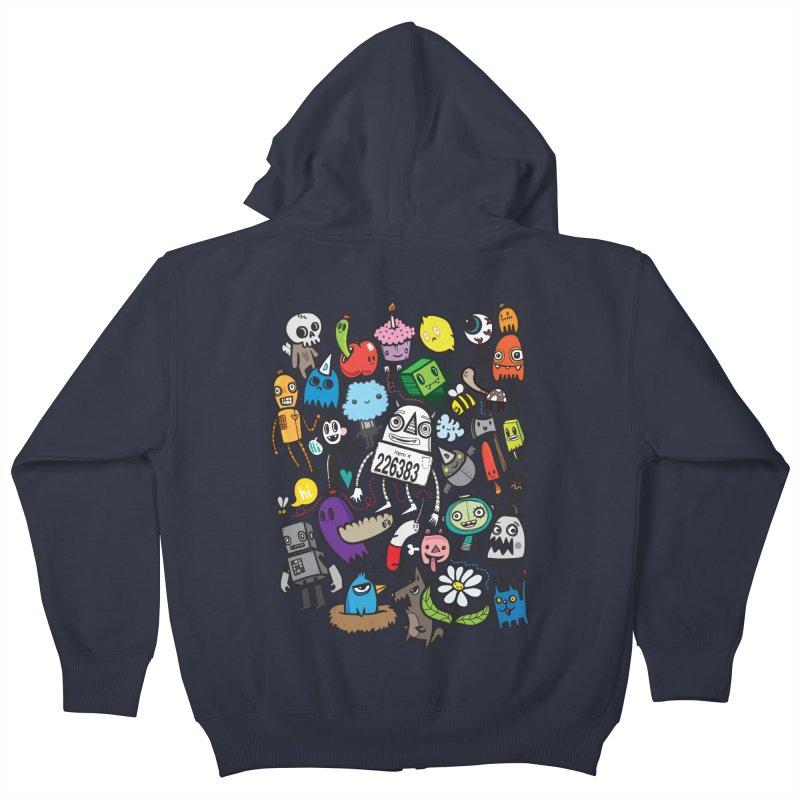 Many Colorful Friends Kids Zip-Up Hoody by wotto's Artist Shop