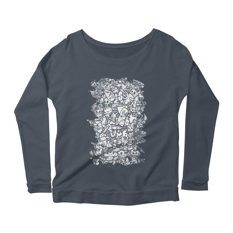 Watercolor Doodles Women's Scoop Neck Longsleeve T-Shirt by wotto's Artist Shop