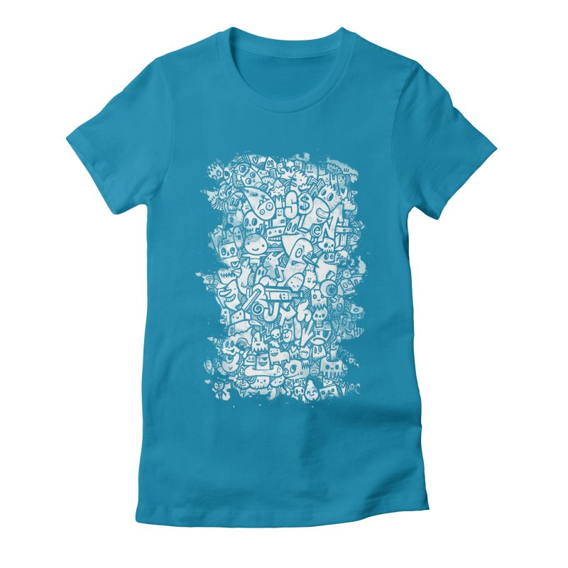 Watercolor Doodles Women's Fitted T-Shirt by wotto's Artist Shop