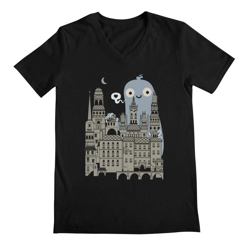 Ghost Town Men's V-Neck by wotto's Artist Shop