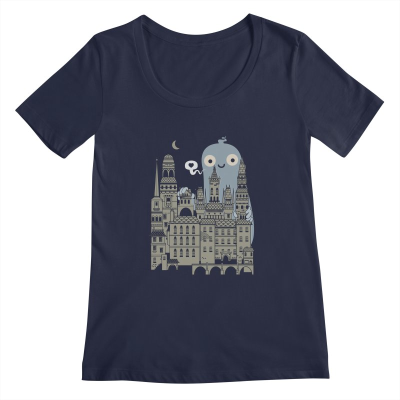 Ghost Town Women's Scoopneck by wotto's Artist Shop