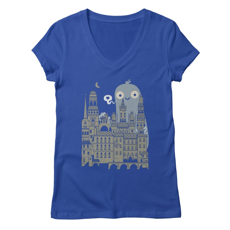 Ghost Town Women's Regular V-Neck by wotto's Artist Shop