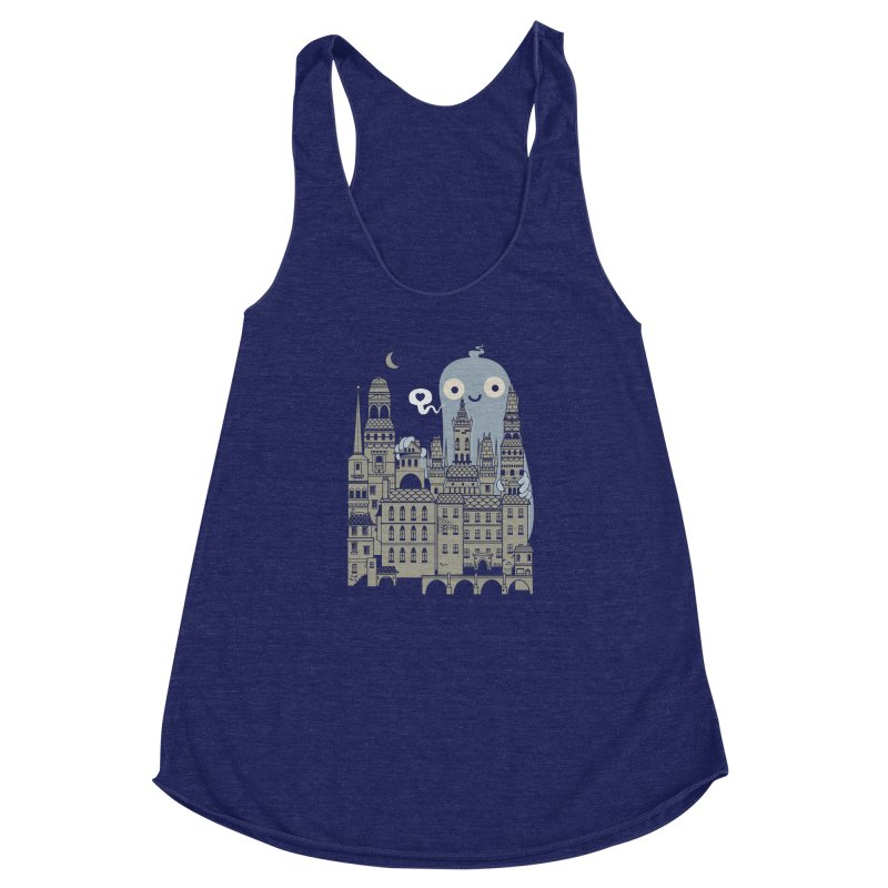 Ghost Town Women's Racerback Triblend Tank by wotto's Artist Shop