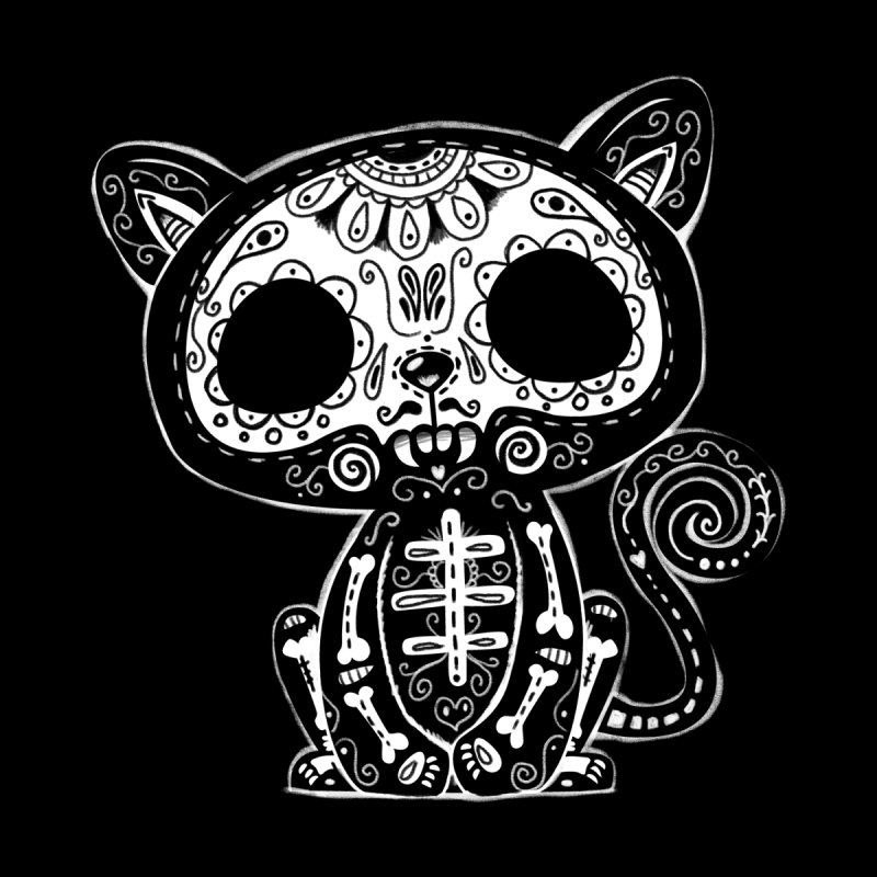 Day of the Dead Kitty Home Mounted Aluminum Print by wotto's Artist Shop