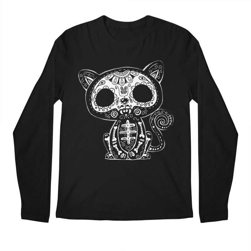 Day of the Dead Kitty Men's Regular Longsleeve T-Shirt by wotto's Artist Shop