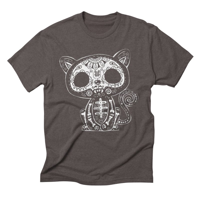 Day of the Dead Kitty Men's Triblend T-Shirt by wotto's Artist Shop