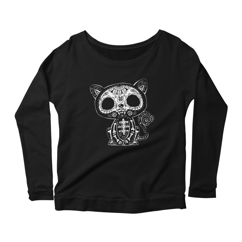 Day of the Dead Kitty Women's Scoop Neck Longsleeve T-Shirt by wotto's Artist Shop
