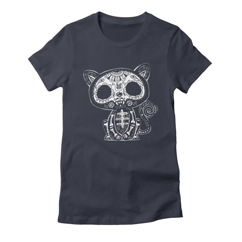 Day of the Dead Kitty Women's Fitted T-Shirt by wotto's Artist Shop