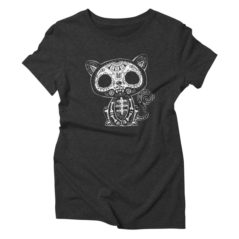 Day of the Dead Kitty Women's Triblend T-Shirt by wotto's Artist Shop