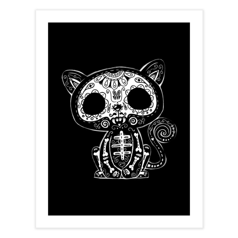 Day of the Dead Kitty Home Fine Art Print by wotto's Artist Shop
