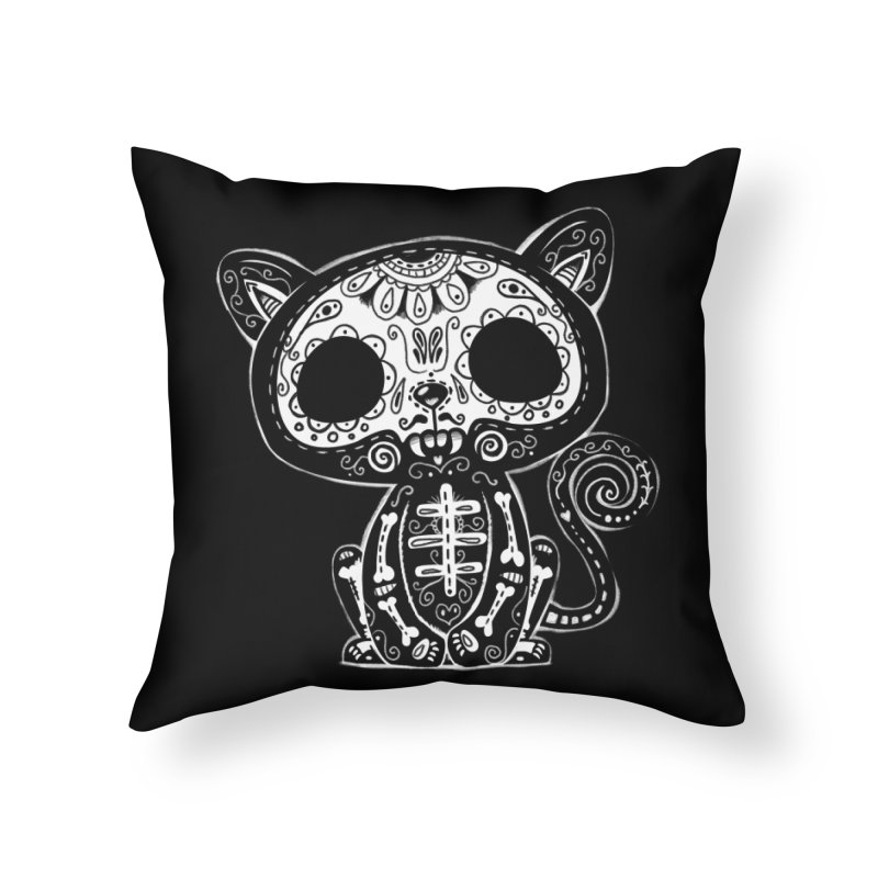 Day of the Dead Kitty Home Throw Pillow by wotto's Artist Shop