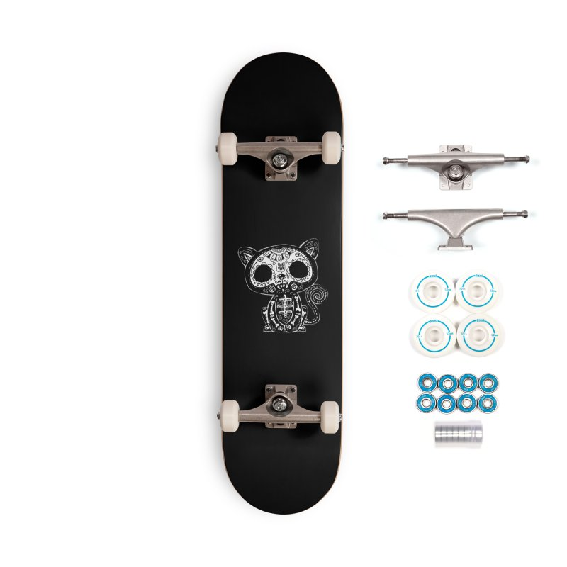 Day of the Dead Kitty Accessories Complete - Basic Skateboard by wotto's Artist Shop