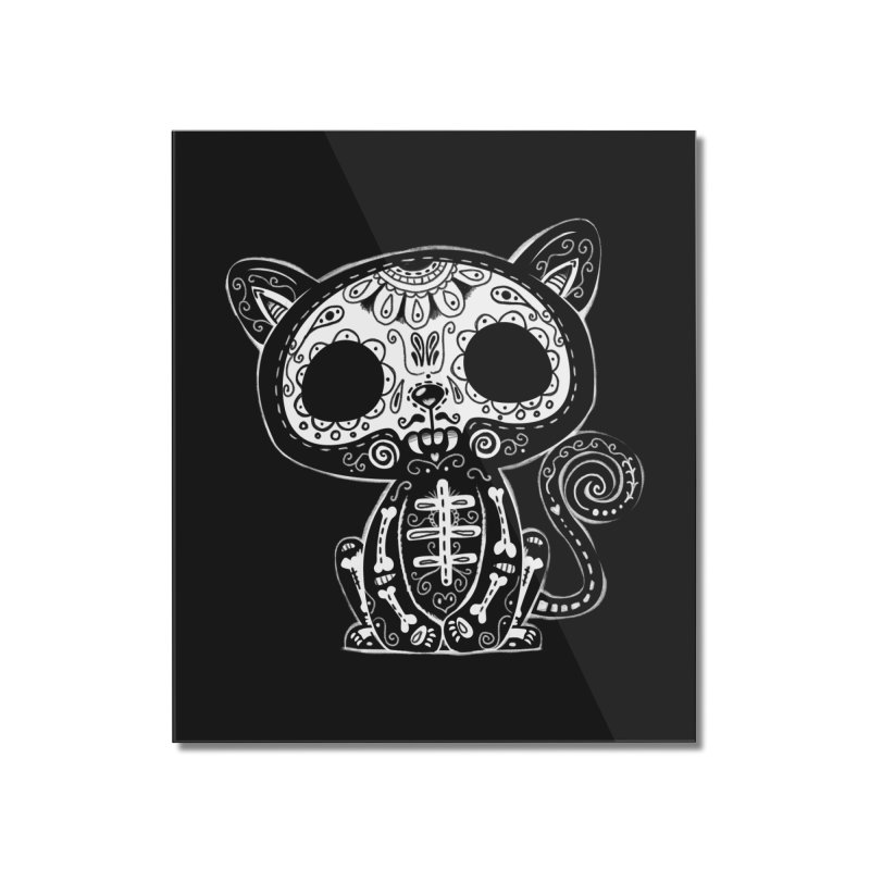 Day of the Dead Kitty Home Mounted Acrylic Print by wotto's Artist Shop