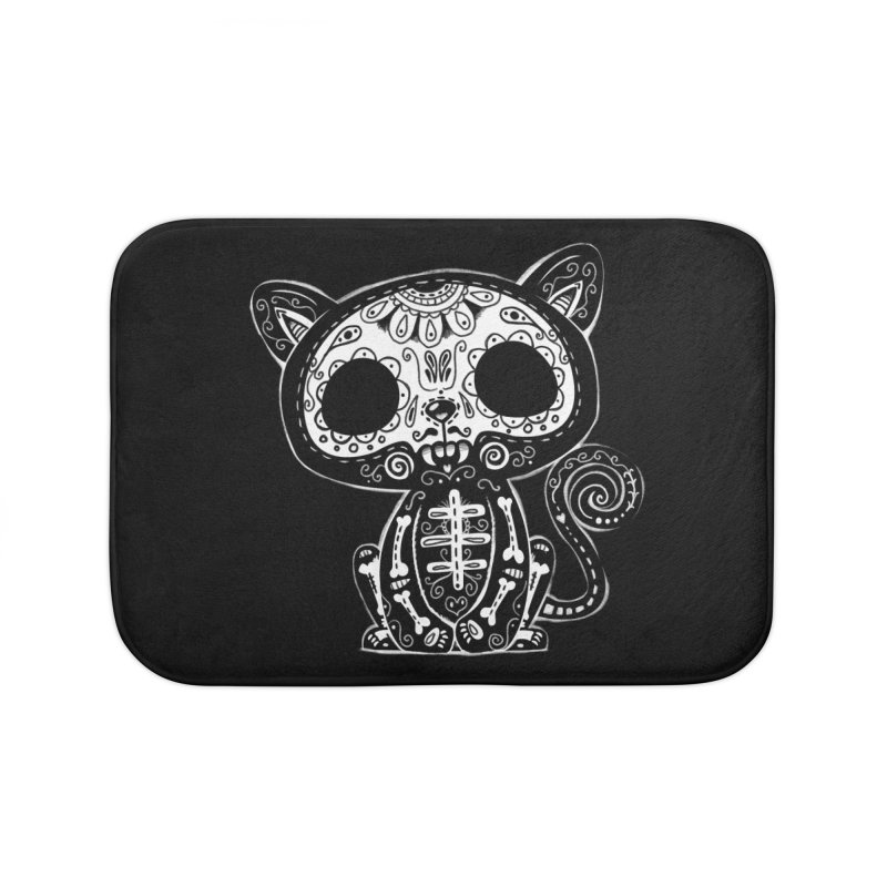 Day of the Dead Kitty Home Bath Mat by wotto's Artist Shop