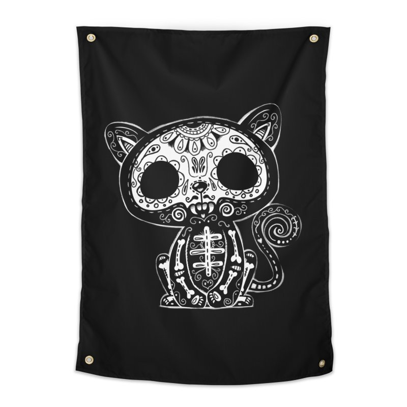 Day of the Dead Kitty Home Tapestry by wotto's Artist Shop