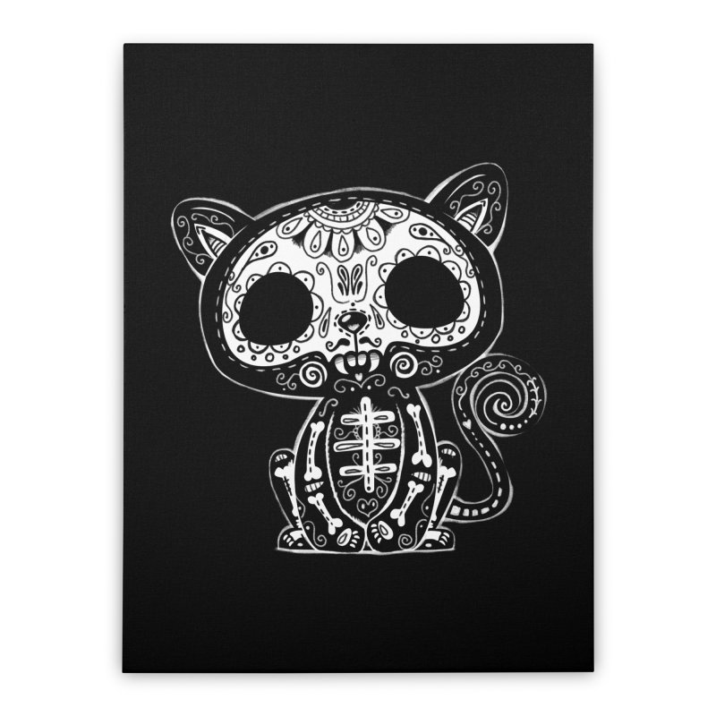 Day of the Dead Kitty Home Stretched Canvas by wotto's Artist Shop