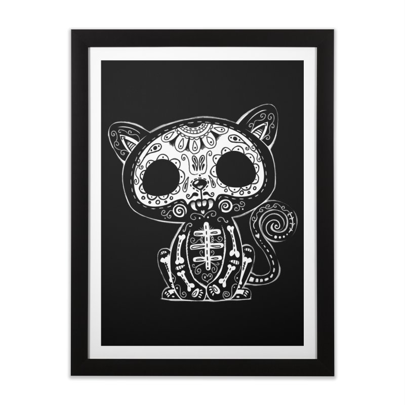 Day of the Dead Kitty Home Framed Fine Art Print by wotto's Artist Shop