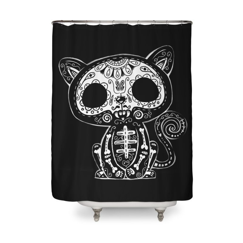 Day of the Dead Kitty Home Shower Curtain by wotto's Artist Shop