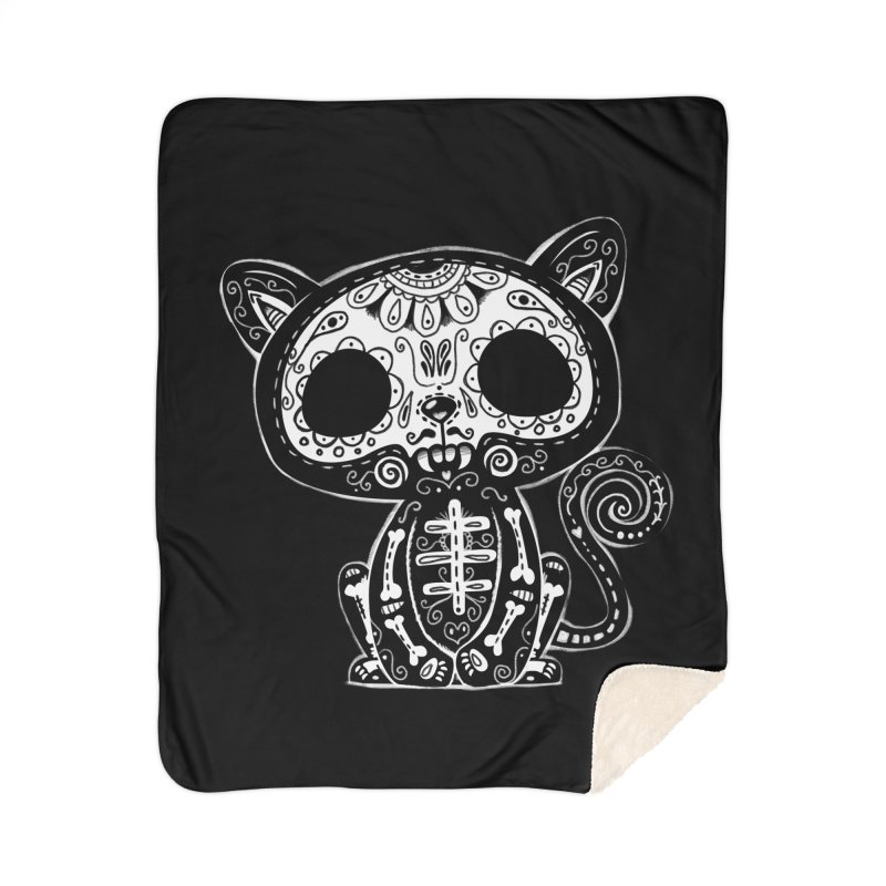 Day of the Dead Kitty Home Blanket by wotto's Artist Shop