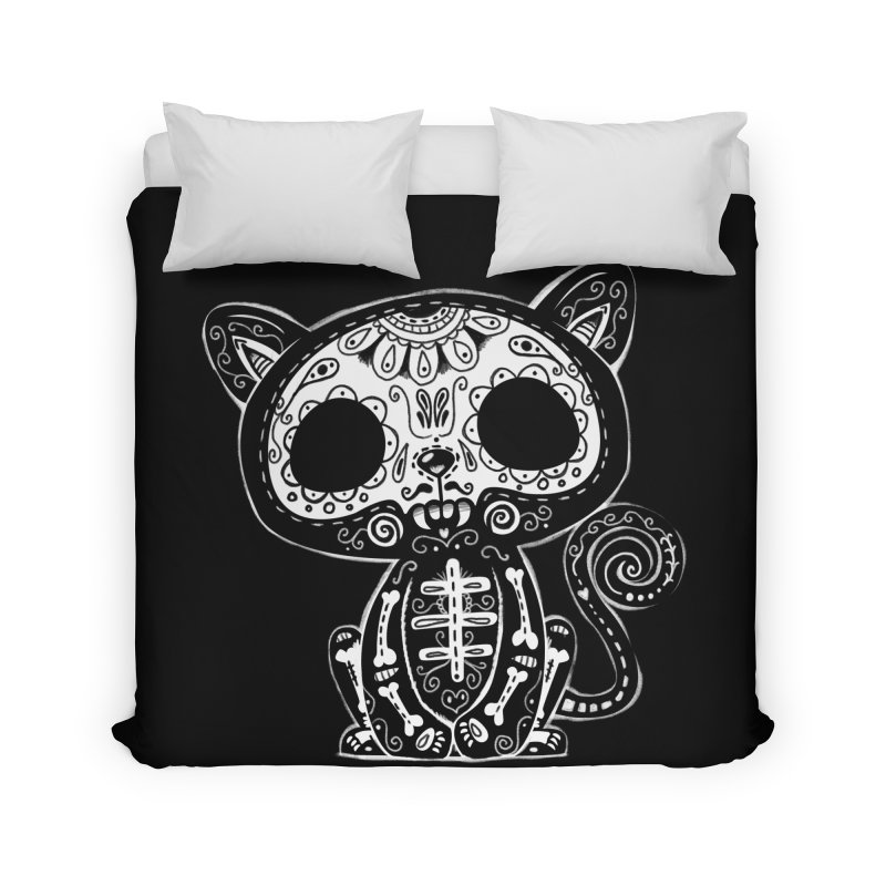 Day of the Dead Kitty Home Duvet by wotto's Artist Shop