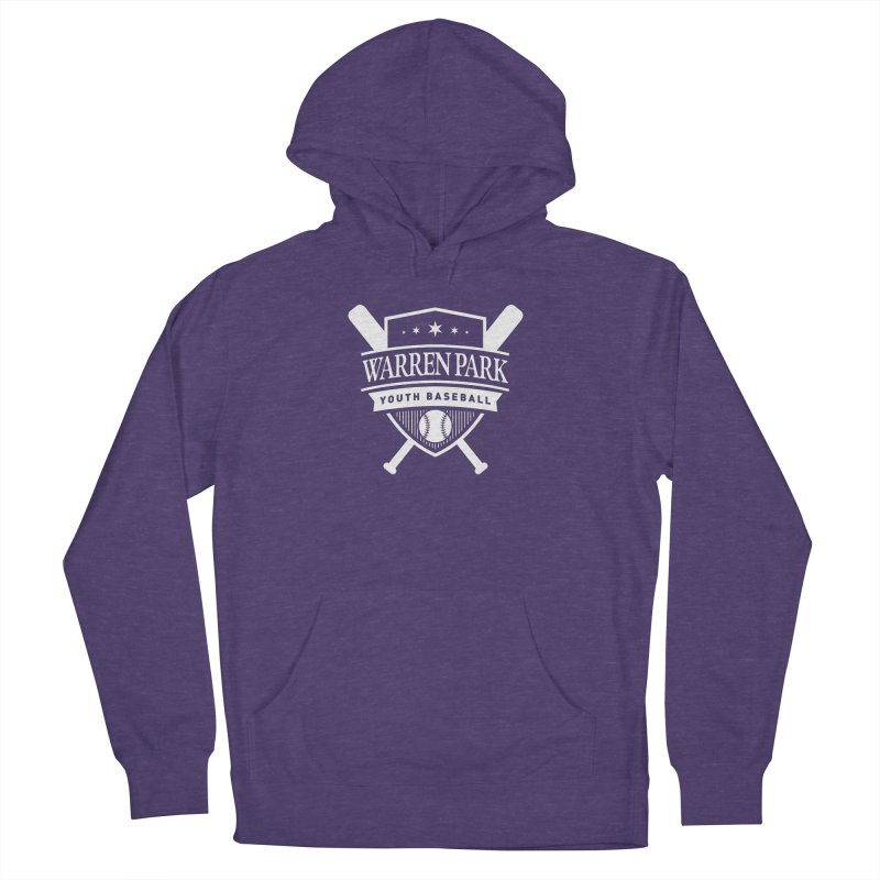 Warren Park Youth Baseball Logo - White in Women's French Terry Pullover Hoody Heather Purple by Warren Park Youth Baseball, Rogers Park Chicago