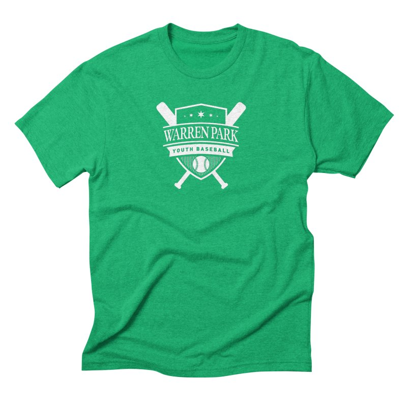 Warren Park Youth Baseball Logo - White in Men's Triblend T-Shirt Tri-Kelly by Warren Park Youth Baseball, Rogers Park Chicago