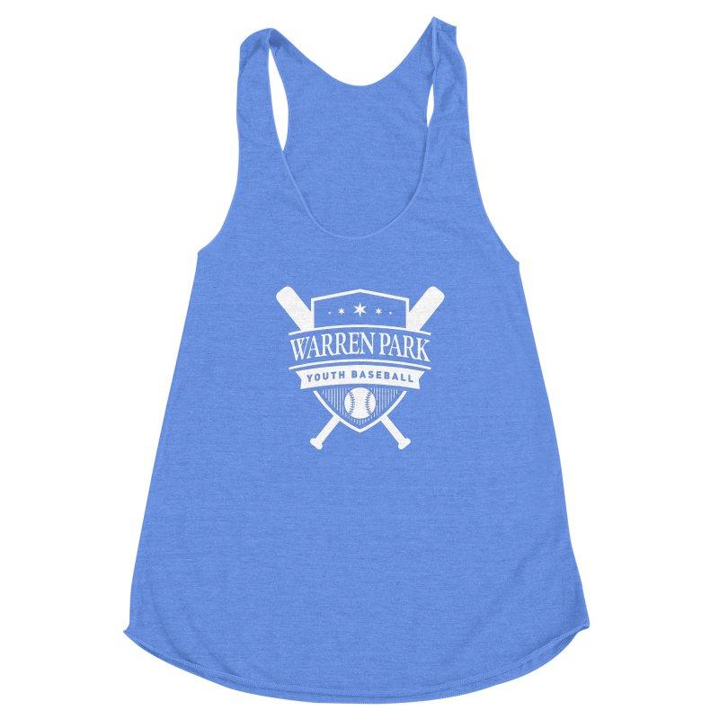 Warren Park Youth Baseball Logo - White in Women's Racerback Triblend Tank Heather Sky Blue by Warren Park Youth Baseball, Rogers Park Chicago