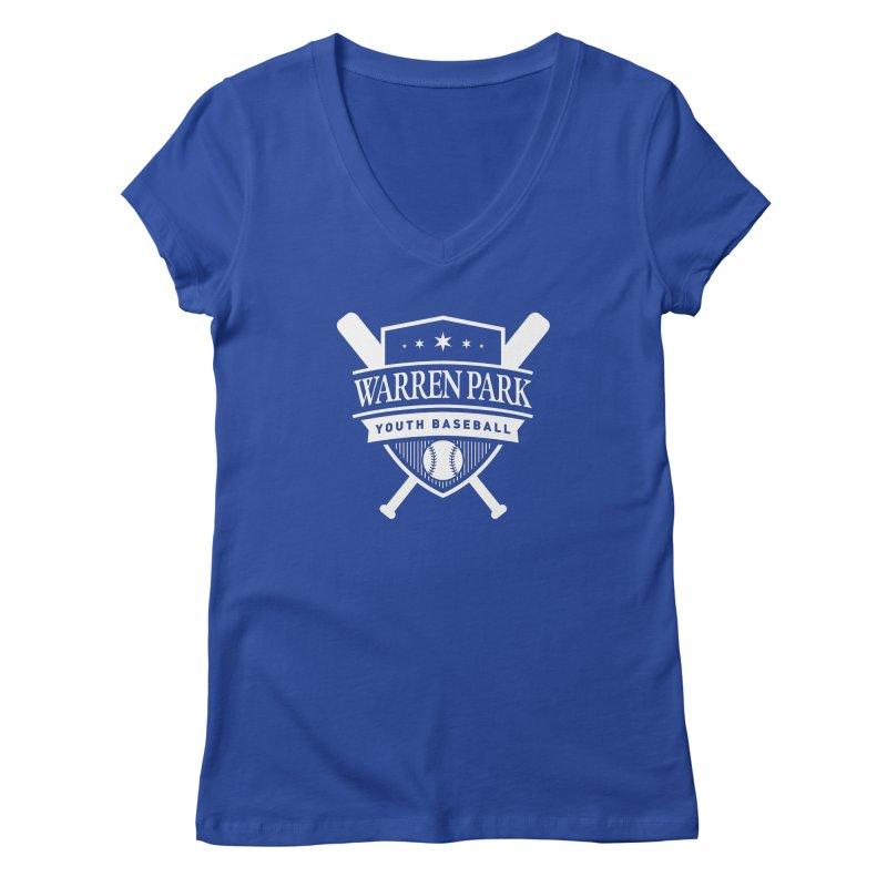 Warren Park Youth Baseball Logo - White Women's Regular V-Neck by Warren Park Youth Baseball, Rogers Park Chicago
