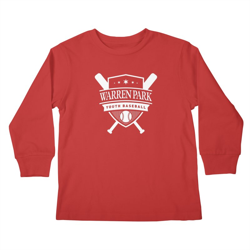 Warren Park Youth Baseball Logo - White in Kids Longsleeve T-Shirt Red by Warren Park Youth Baseball, Rogers Park Chicago