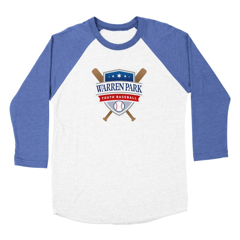 Warren Park Youth Baseball Logo - Full Color in Men's Baseball Triblend T-Shirt Tri-Blue Sleeves by Warren Park Youth Baseball LIttle League Chicago's