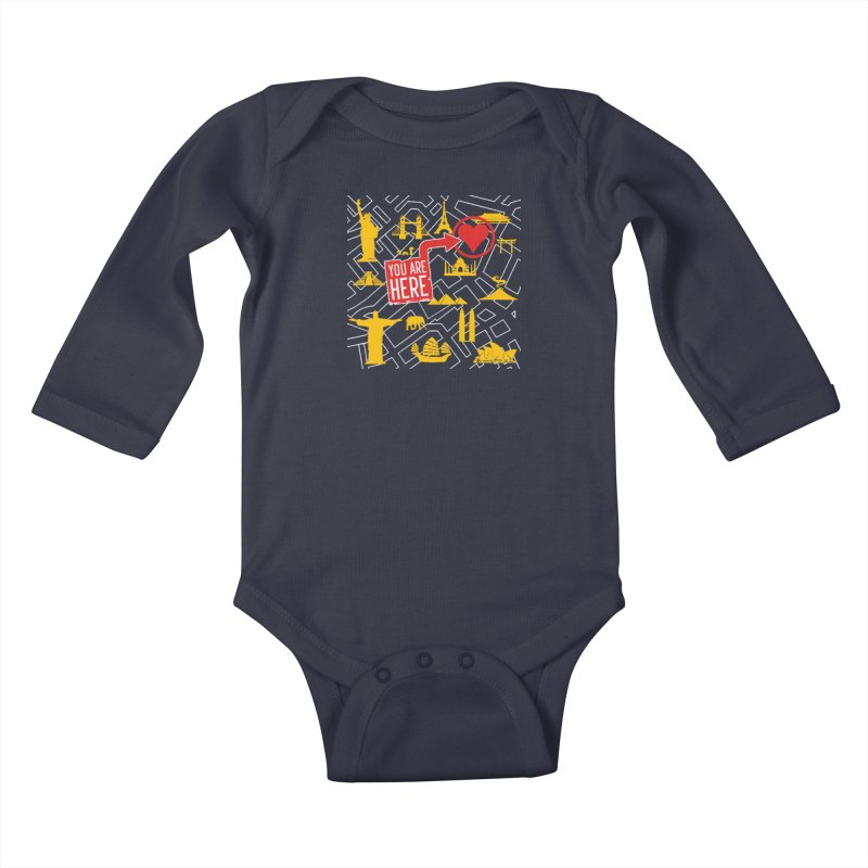 wanderlust Kids Baby Longsleeve Bodysuit by wreckenroll's Artist Shop